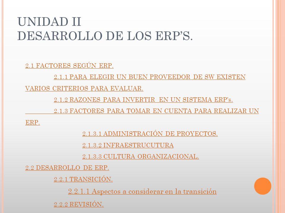 UNIDAD II DESARROLLO DE LOS ERPS. 2.1 FACTORES SEGÚN ERP.