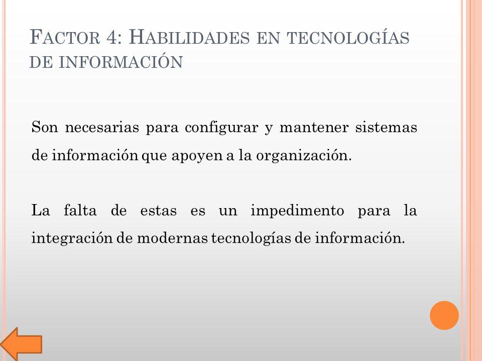 F ACTOR 4: H ABILIDADES EN TECNOLOGÍAS DE INFORMACIÓN Son necesarias para configurar y mantener sistemas de información que apoyen a la organización.