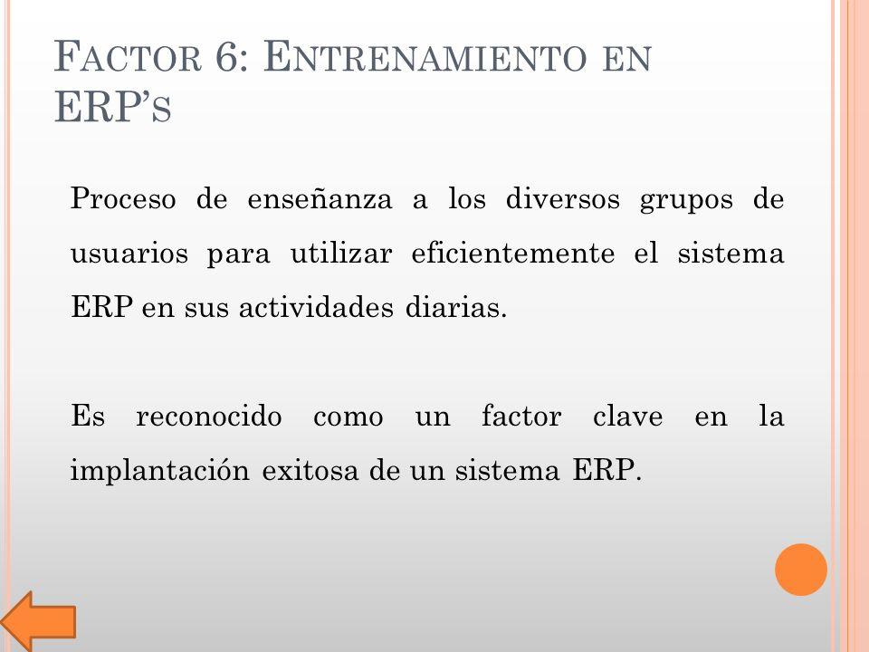 F ACTOR 6: E NTRENAMIENTO EN ERP S Proceso de enseñanza a los diversos grupos de usuarios para utilizar eficientemente el sistema ERP en sus actividades diarias.
