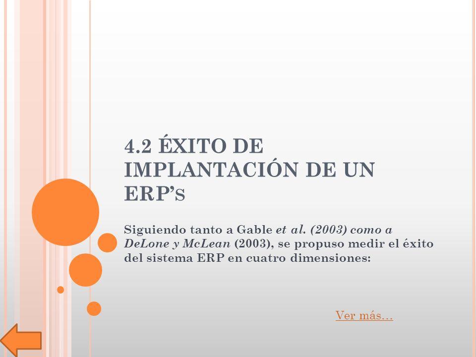 4.2 ÉXITO DE IMPLANTACIÓN DE UN ERP S Siguiendo tanto a Gable et al.