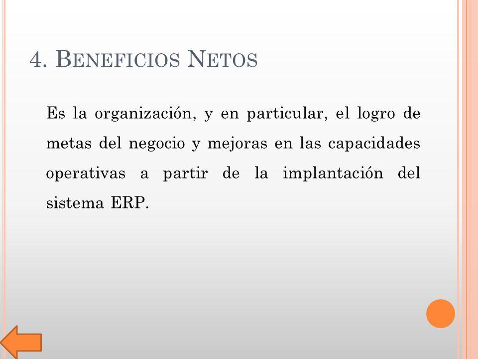 4. B ENEFICIOS N ETOS Es la organización, y en particular, el logro de metas del negocio y mejoras en las capacidades operativas a partir de la implan