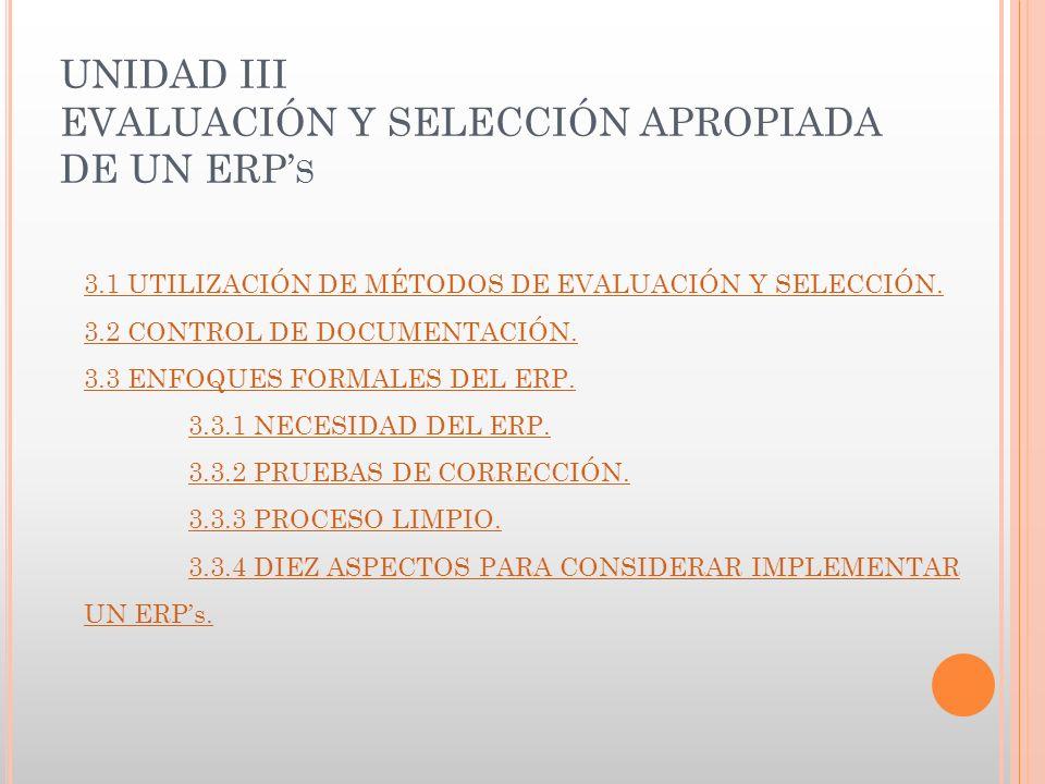 UNIDAD III EVALUACIÓN Y SELECCIÓN APROPIADA DE UN ERP S 3.1 UTILIZACIÓN DE MÉTODOS DE EVALUACIÓN Y SELECCIÓN.