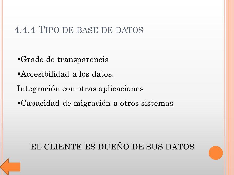 4.4.4 T IPO DE BASE DE DATOS Grado de transparencia Accesibilidad a los datos.