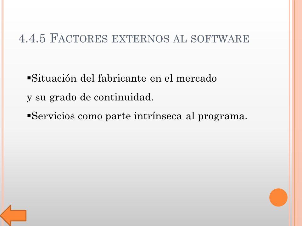 4.4.5 F ACTORES EXTERNOS AL SOFTWARE Situación del fabricante en el mercado y su grado de continuidad.