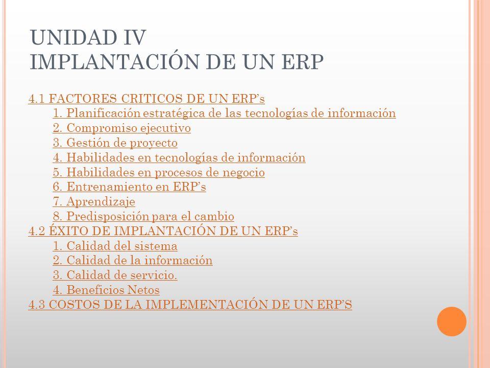 UNIDAD IV IMPLANTACIÓN DE UN ERP 4.1 FACTORES CRITICOS DE UN ERPs 1.