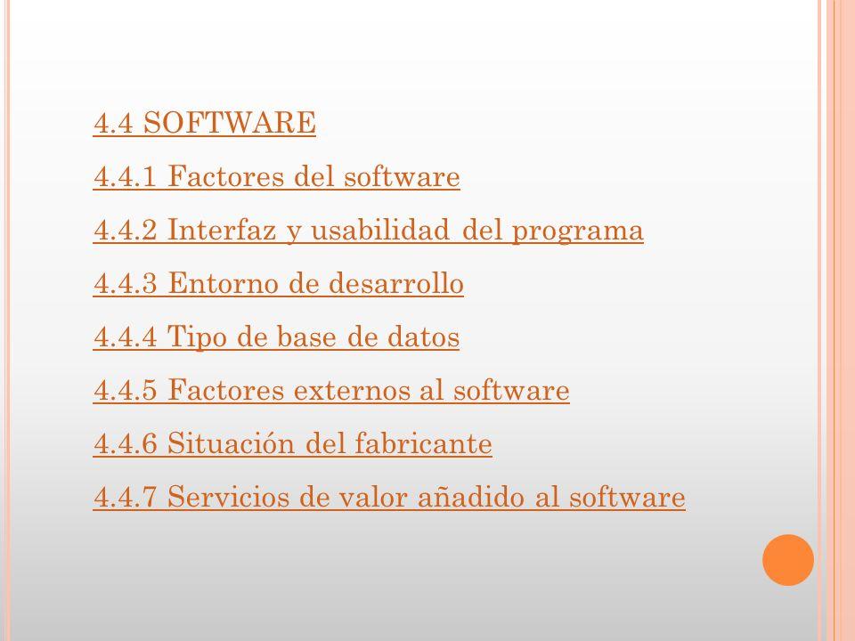 4.4 SOFTWARE 4.4.1 Factores del software 4.4.2 Interfaz y usabilidad del programa 4.4.3 Entorno de desarrollo 4.4.4 Tipo de base de datos 4.4.5 Factores externos al software 4.4.6 Situación del fabricante 4.4.7 Servicios de valor añadido al software