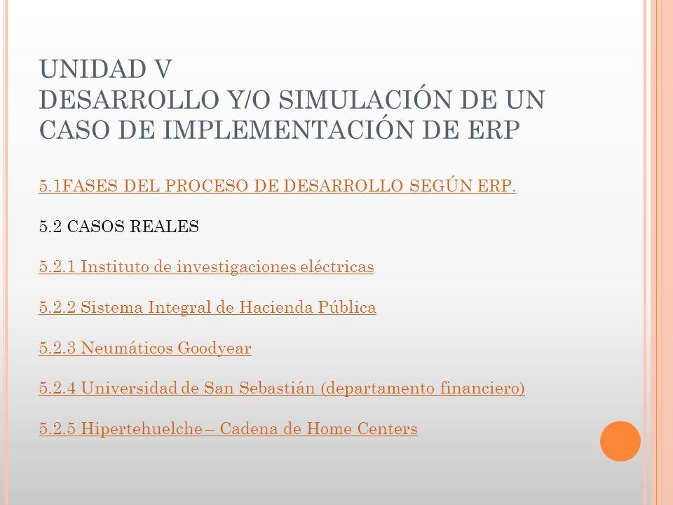 UNIDAD V DESARROLLO Y/O SIMULACIÓN DE UN CASO DE IMPLEMENTACIÓN DE ERP 5.1FASES DEL PROCESO DE DESARROLLO SEGÚN ERP.