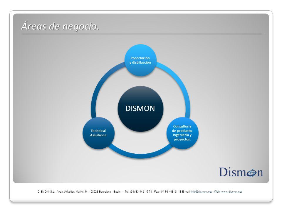 Áreas de negocio. DISMON, S.L. Avda. Arístides Maillol, 9 - 08028 Barcelona - Spain - Tel. (34) 93 448 16 73 Fax (34) 93 448 81 13 E-mail: info@dismon