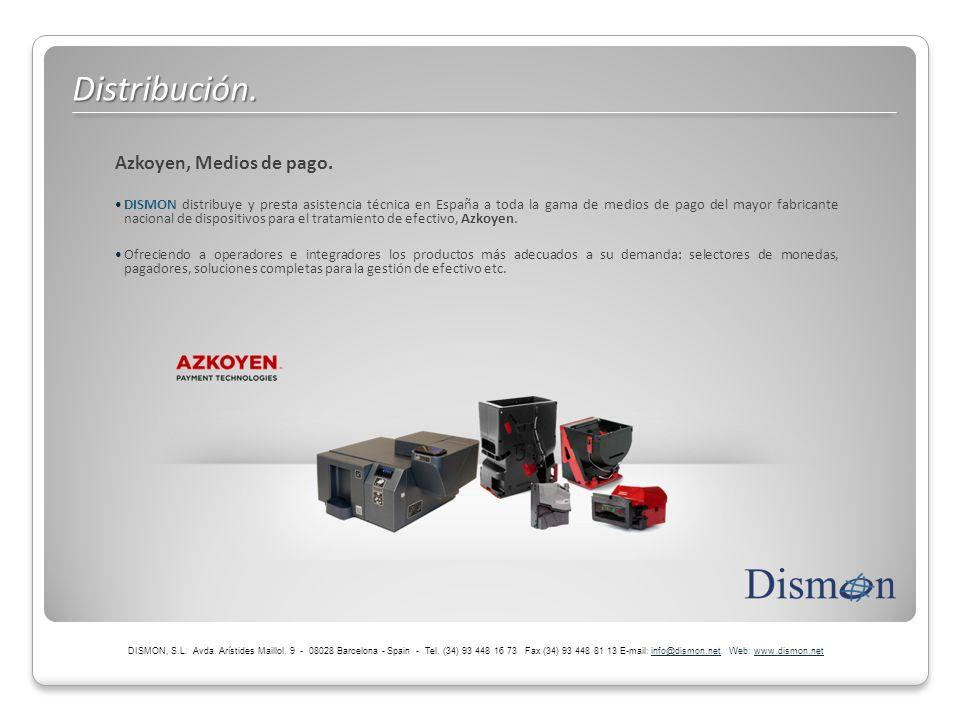 Azkoyen, Medios de pago. DISMON distribuye y presta asistencia técnica en España a toda la gama de medios de pago del mayor fabricante nacional de dis