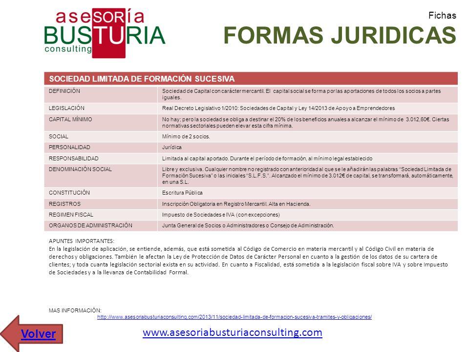 Fichas FORMAS JURIDICAS SOCIEDAD LIMITADA DE FORMACIÓN SUCESIVA DEFINICIÓNSociedad de Capital con carácter mercantil. El capital social se forma por l
