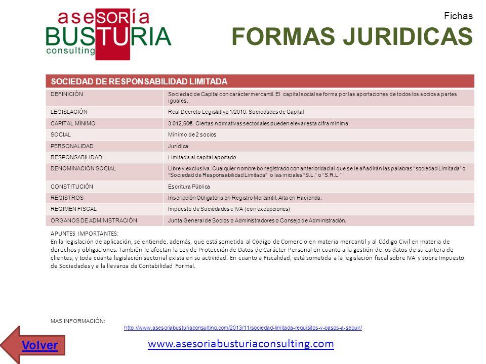 Fichas FORMAS JURIDICAS SOCIEDAD DE RESPONSABILIDAD LIMITADA DEFINICIÓNSociedad de Capital con carácter mercantil. El capital social se forma por las