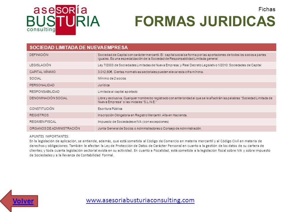 Fichas FORMAS JURIDICAS SOCIEDAD LIMITADA DE NUEVA EMPRESA DEFINICIÓNSociedad de Capital con carácter mercantil. El capital social se forma por las ap