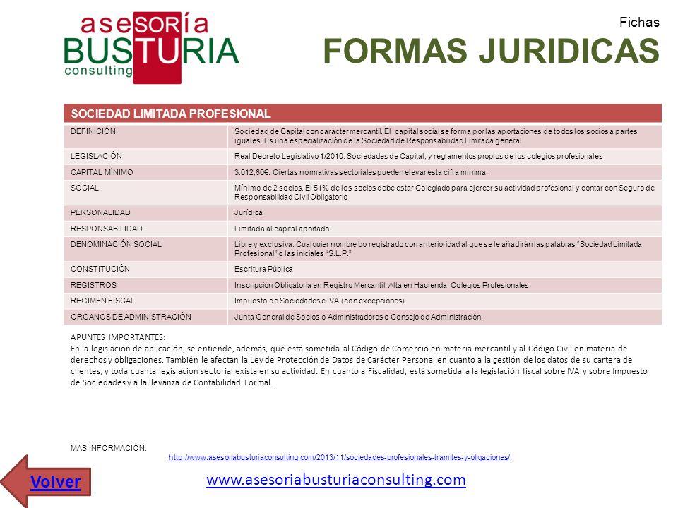 Fichas FORMAS JURIDICAS SOCIEDAD LIMITADA PROFESIONAL DEFINICIÓNSociedad de Capital con carácter mercantil. El capital social se forma por las aportac