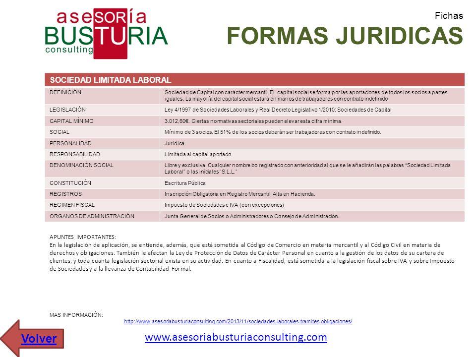 Fichas FORMAS JURIDICAS SOCIEDAD LIMITADA LABORAL DEFINICIÓNSociedad de Capital con carácter mercantil. El capital social se forma por las aportacione