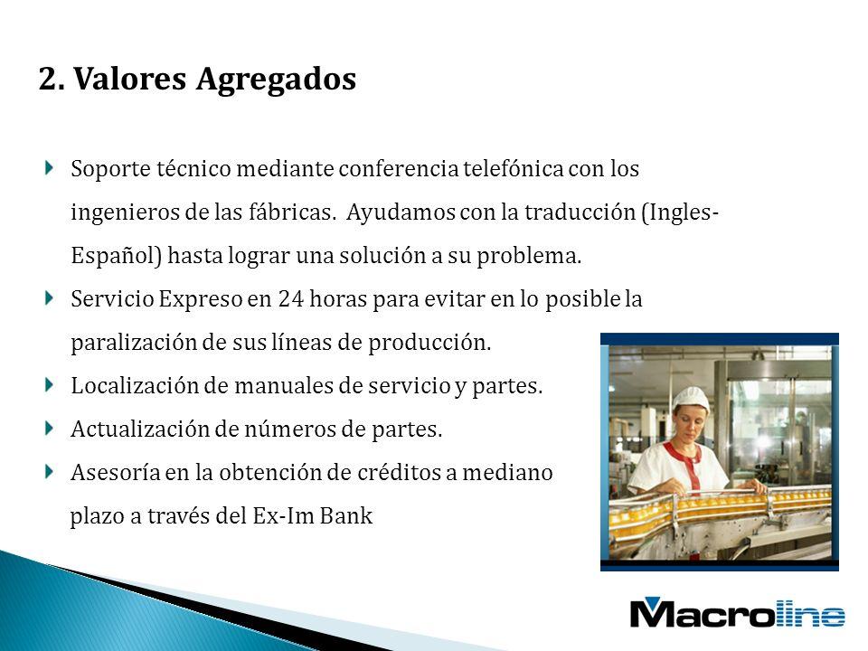 2. Valores Agregados Soporte técnico mediante conferencia telefónica con los ingenieros de las fábricas. Ayudamos con la traducción (Ingles- Español)