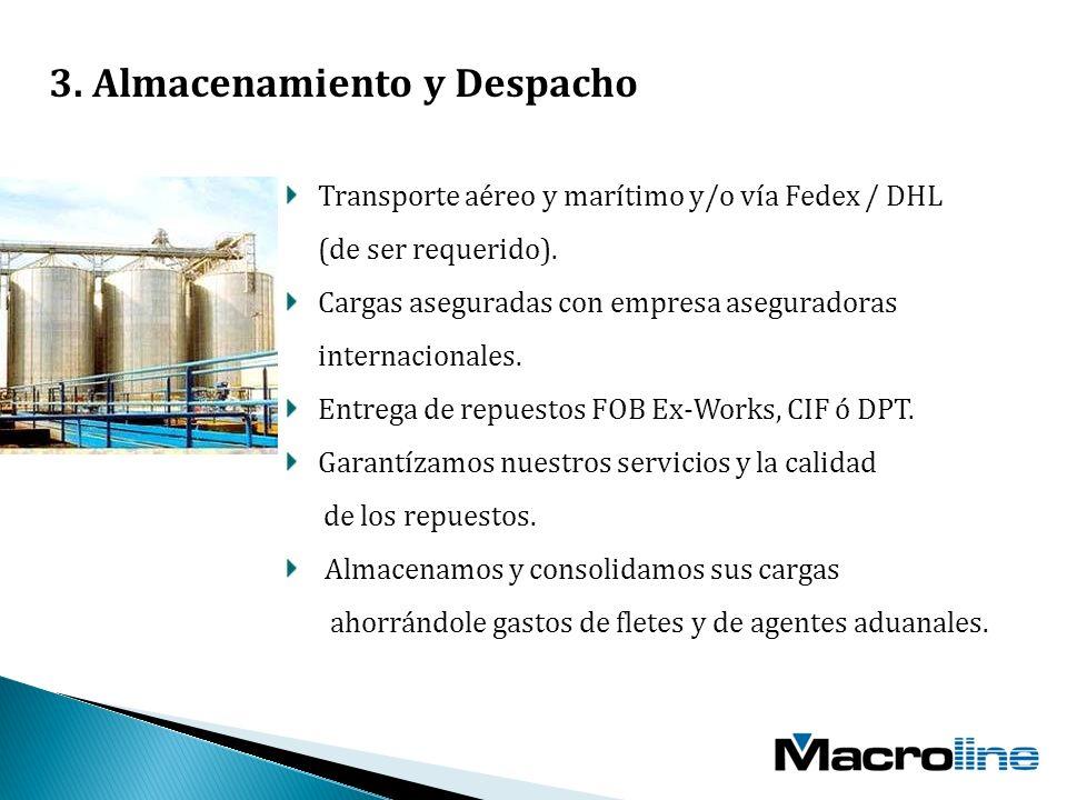 Transporte aéreo y marítimo y/o vía Fedex / DHL (de ser requerido).