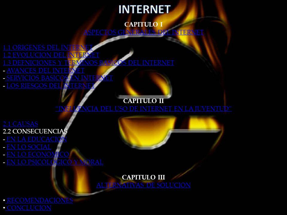CAPITULO I ASPECTOS GENERALES DEL INTERNET 1.1 ORIGENES DEL INTERNET 1.2 EVOLUCION DEL INTERNET 1.3 DEFNICIONES Y TERMINOS BASICOS DEL INTERNET - AVANCES DEL INTERNETAVANCES DEL INTERNET - SERVICIOS BASICOS EN INTERNET SERVICIOS BASICOS EN INTERNET - LOS RIESGOS DEL INTERNETLOS RIESGOS DEL INTERNET CAPITULO II INFLUENCIA DEL USO DE INTERNET EN LA JUVENTUD 2.1 CAUSAS 2.2 CONSECUENCIAS - EN LA EDUCACION EN LA EDUCACION - EN LO SOCIALEN LO SOCIAL - EN LO ECONOMICOEN LO ECONOMICO - EN LO PSICOLOGICO Y MORALEN LO PSICOLOGICO Y MORAL CAPITULO III ALTERNATIVAS DE SOLUCION RECOMENDACIONES CONCLUCION