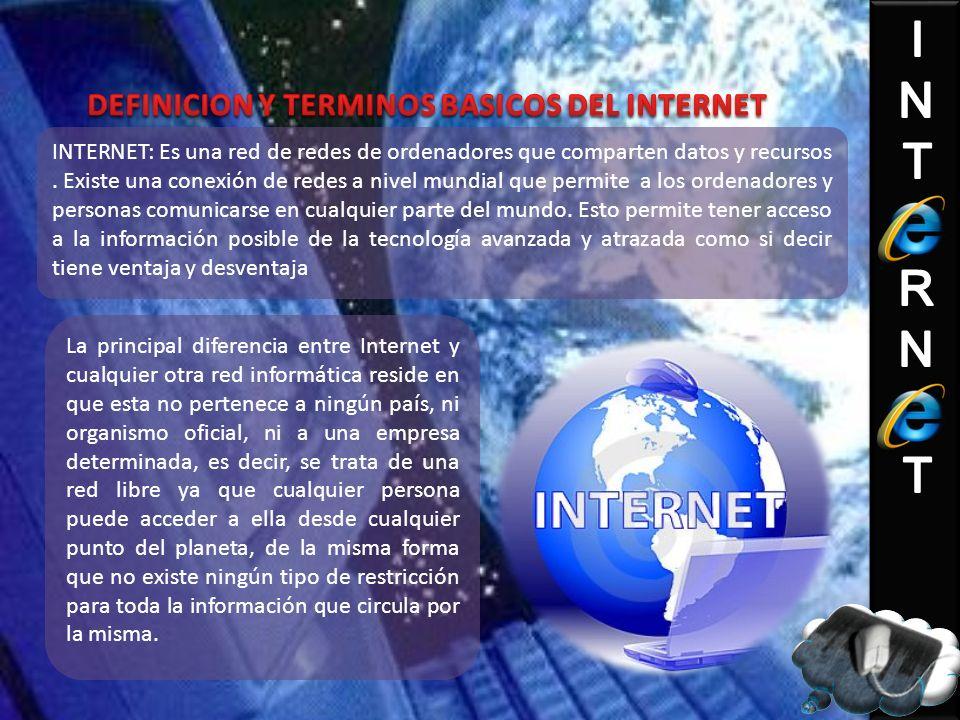 INTERNET: Es una red de redes de ordenadores que comparten datos y recursos. Existe una conexión de redes a nivel mundial que permite a los ordenadore