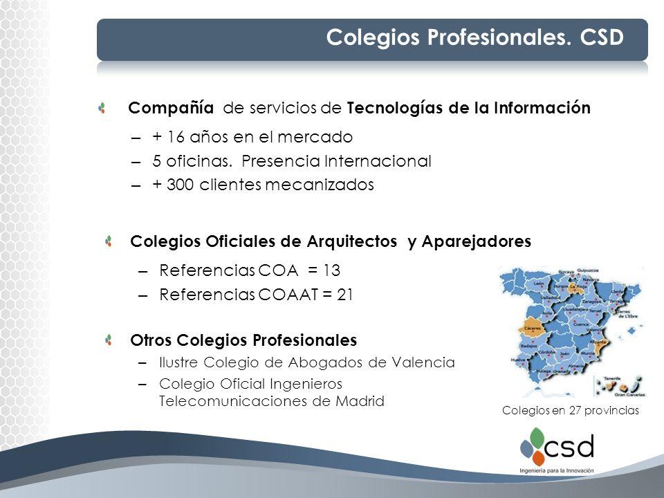 Colegios Profesionales. CSD Colegios Oficiales de Arquitectos y Aparejadores – Referencias COA = 13 – Referencias COAAT = 21 Colegios en 27 provincias