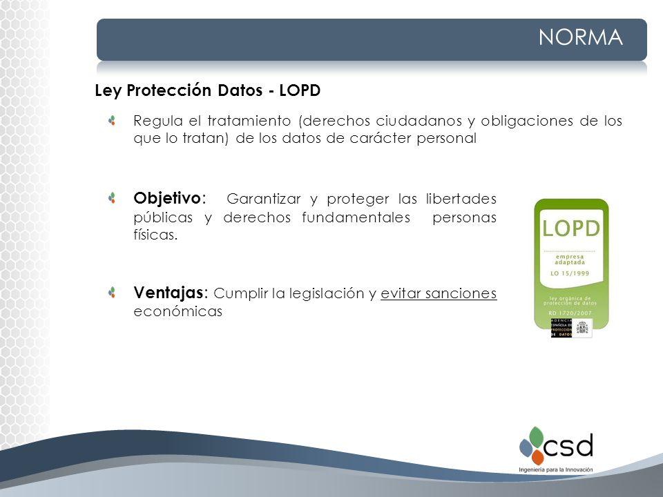NORMA Regula el tratamiento (derechos ciudadanos y obligaciones de los que lo tratan) de los datos de carácter personal Ley Protección Datos - LOPD Ob
