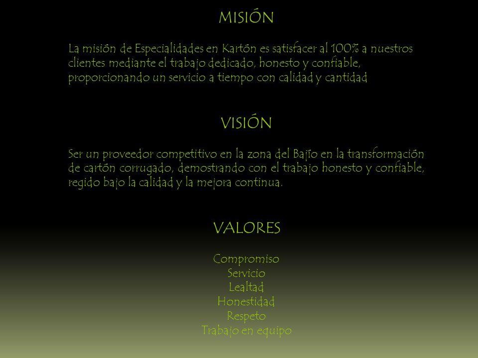 MISIÓN La misión de Especialidades en Kartón es satisfacer al 100% a nuestros clientes mediante el trabajo dedicado, honesto y confiable, proporcionan