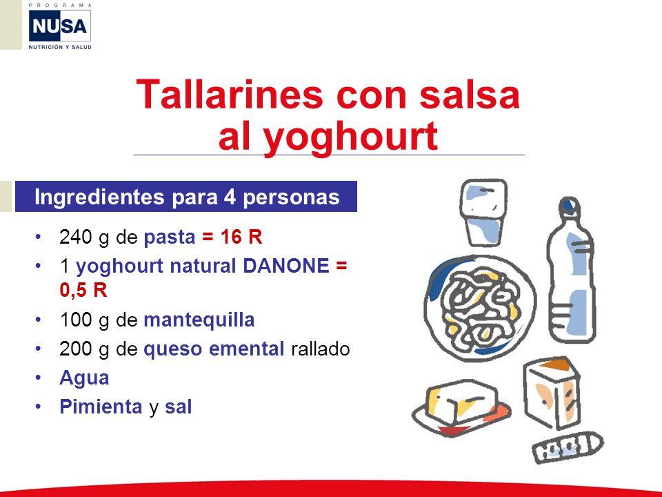 Ingredientes para 4 personas 240 g de pasta = 16 R 1 yoghourt natural DANONE = 0,5 R 100 g de mantequilla 200 g de queso emental rallado Agua Pimienta