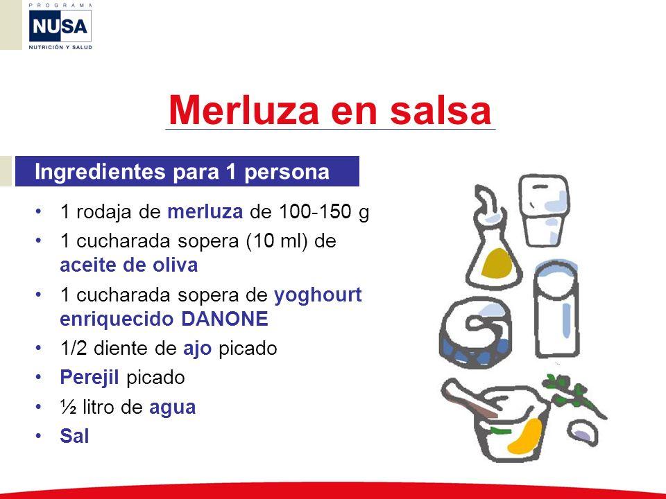 Ingredientes para 1 persona 1 rodaja de merluza de 100-150 g 1 cucharada sopera (10 ml) de aceite de oliva 1 cucharada sopera de yoghourt enriquecido