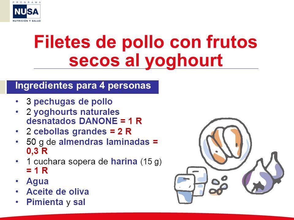 Ingredientes para 4 personas 3 pechugas de pollo 2 yoghourts naturales desnatados DANONE = 1 R 2 cebollas grandes = 2 R 50 g de almendras laminadas =