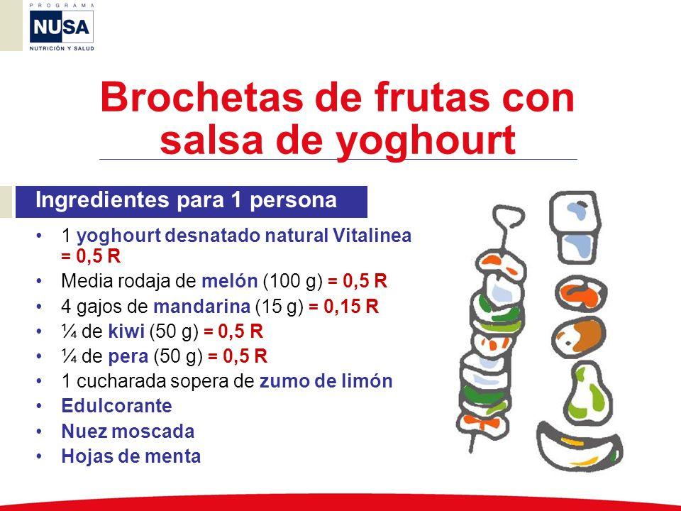 Ingredientes para 1 persona 1 yoghourt desnatado natural Vitalinea = 0,5 R Media rodaja de melón (100 g) = 0,5 R 4 gajos de mandarina (15 g) = 0,15 R