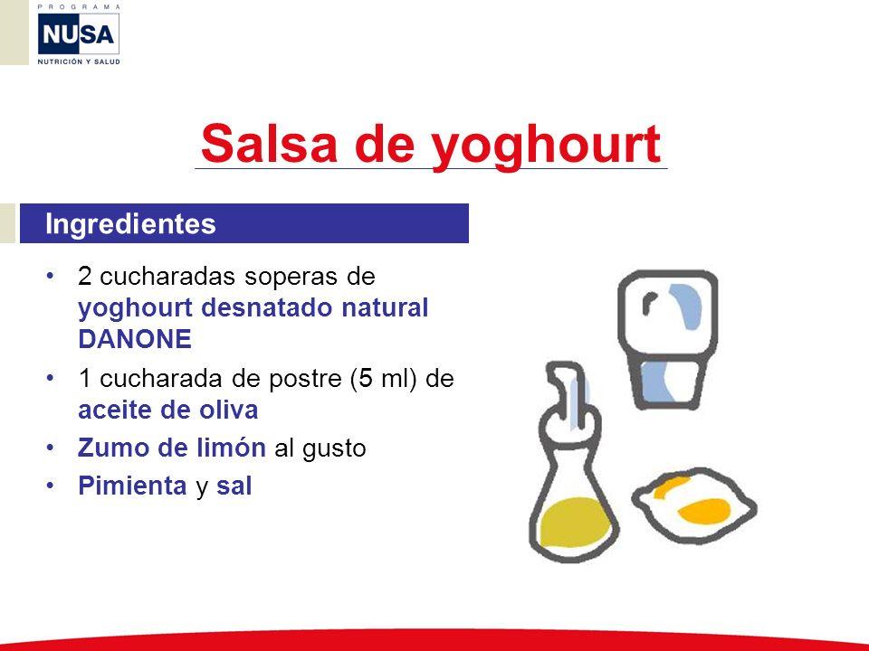 Ingredientes 2 cucharadas soperas de yoghourt desnatado natural DANONE 1 cucharada de postre (5 ml) de aceite de oliva Zumo de limón al gusto Pimienta