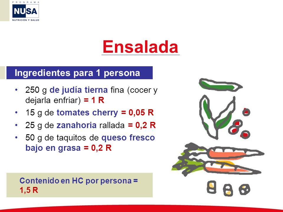 Ingredientes para 1 persona 250 g de judía tierna fina (cocer y dejarla enfriar) = 1 R 15 g de tomates cherry = 0,05 R 25 g de zanahoria rallada = 0,2