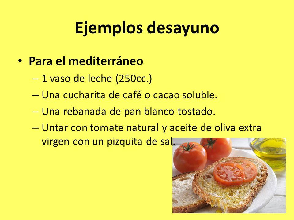 Ejemplos desayuno Para el mediterráneo – 1 vaso de leche (250cc.) – Una cucharita de café o cacao soluble. – Una rebanada de pan blanco tostado. – Unt