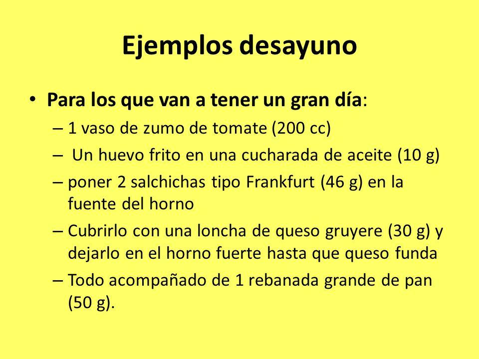 Ejemplos desayuno Para los que van a tener un gran día: – 1 vaso de zumo de tomate (200 cc) – Un huevo frito en una cucharada de aceite (10 g) – poner