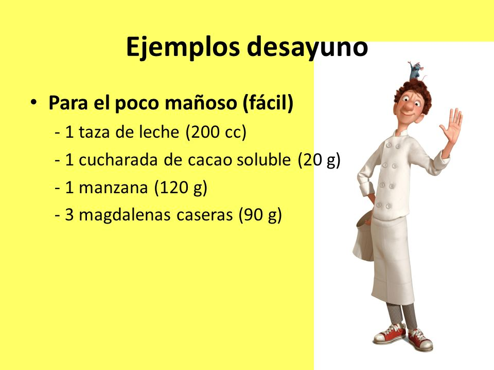Ejemplos desayuno Para el poco mañoso (fácil) - 1 taza de leche (200 cc) - 1 cucharada de cacao soluble (20 g) - 1 manzana (120 g) - 3 magdalenas case