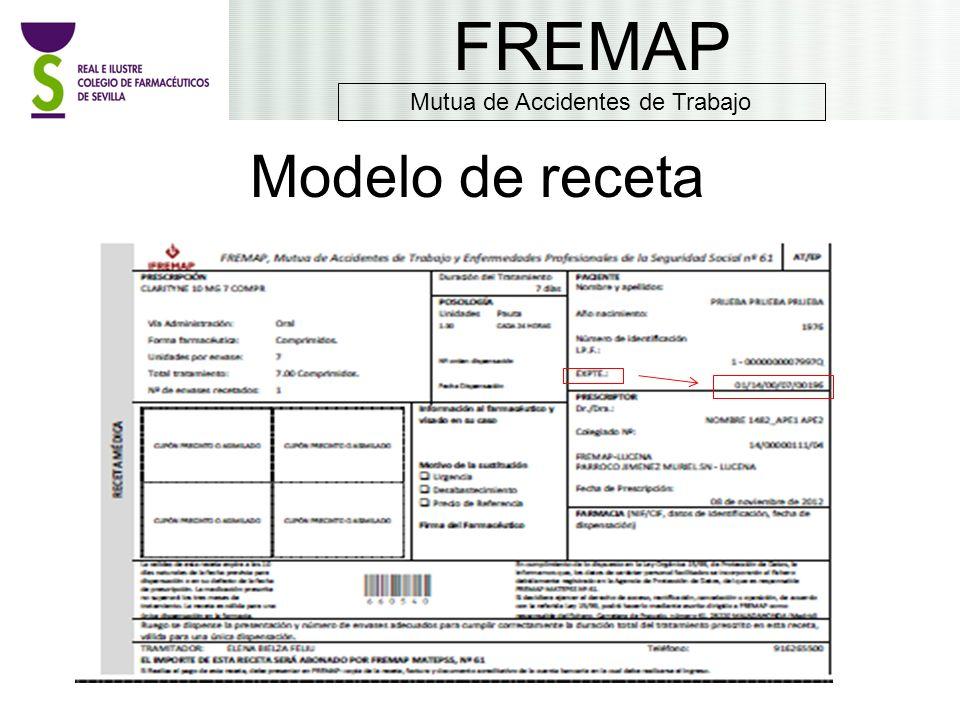 Modelo de receta FREMAP Mutua de Accidentes de Trabajo