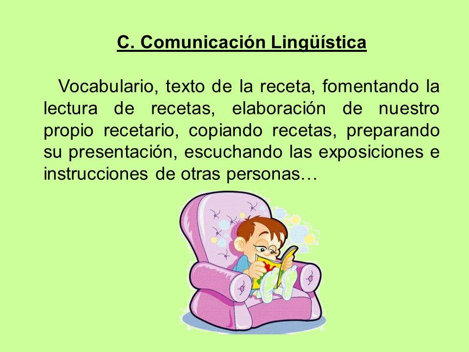 C. Comunicación Lingüística Vocabulario, texto de la receta, fomentando la lectura de recetas, elaboración de nuestro propio recetario, copiando recet