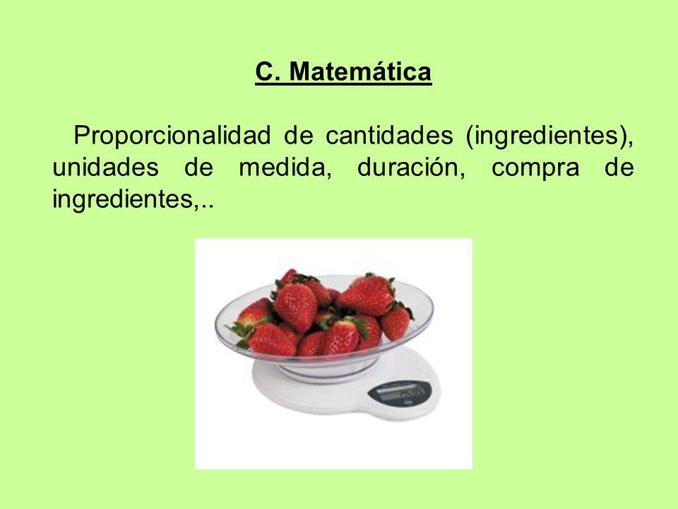 C. Matemática Proporcionalidad de cantidades (ingredientes), unidades de medida, duración, compra de ingredientes,..