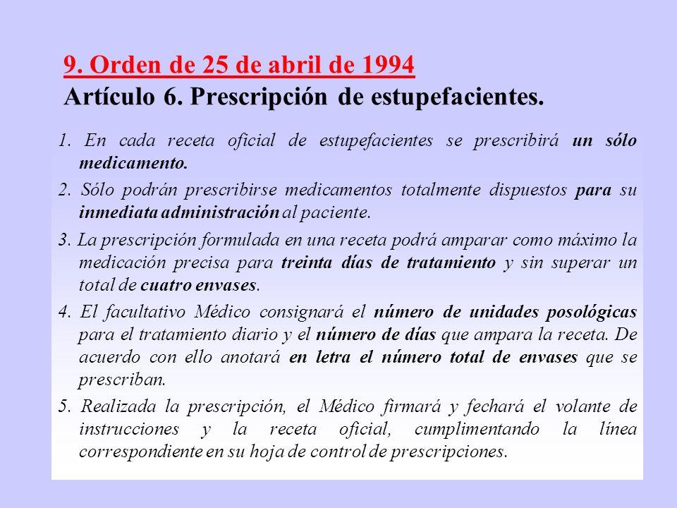 10 9. Orden de 25 de abril de 1994 Artículo 6. Prescripción de estupefacientes. 1. En cada receta oficial de estupefacientes se prescribirá un sólo me