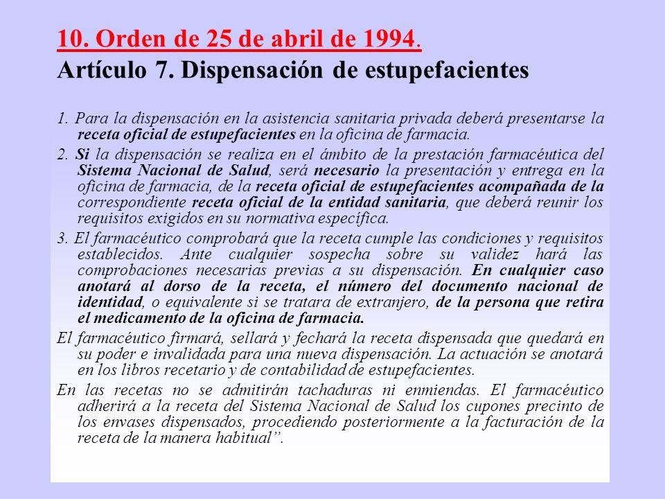 11 10. Orden de 25 de abril de 1994. Artículo 7. Dispensación de estupefacientes 1. Para la dispensación en la asistencia sanitaria privada deberá pre