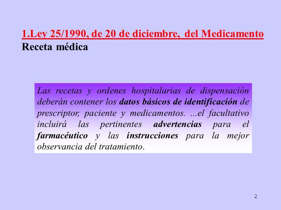 2 Las recetas y ordenes hospitalarias de dispensación deberán contener los datos básicos de identificación de prescriptor, paciente y medicamentos....