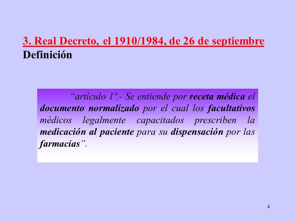 4 artículo 1º.- Se entiende por receta médica el documento normalizado por el cual los facultativos médicos legalmente capacitados prescriben la medic