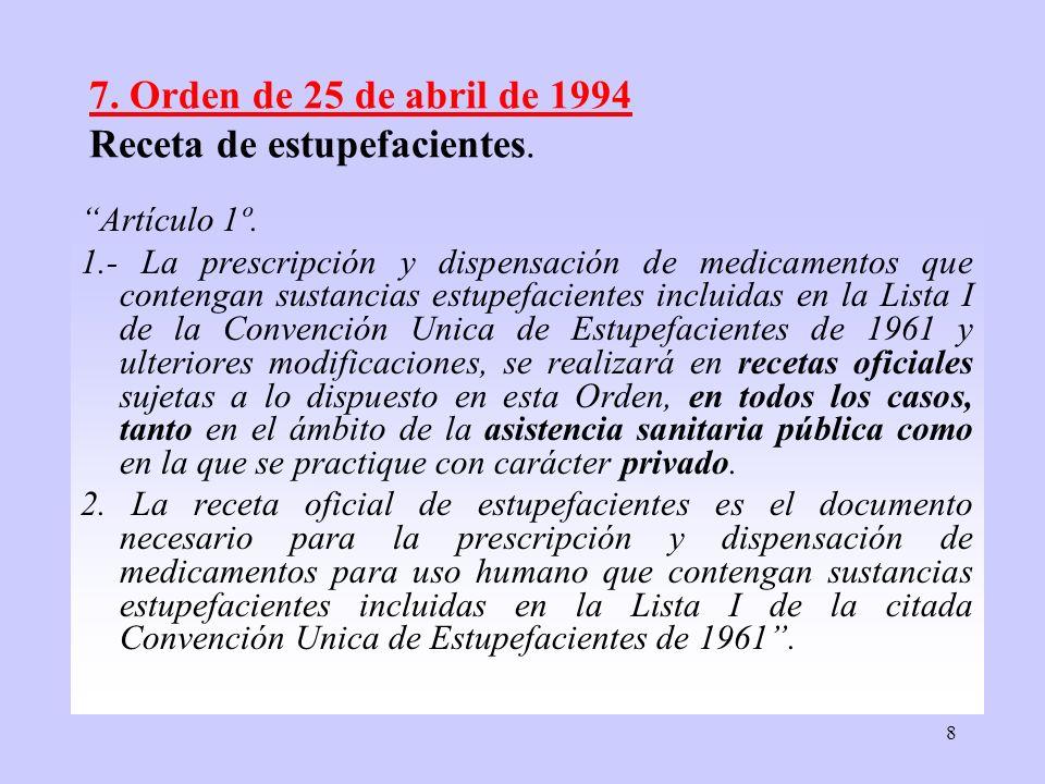 8 7. Orden de 25 de abril de 1994 Receta de estupefacientes. Artículo 1º. 1.- La prescripción y dispensación de medicamentos que contengan sustancias