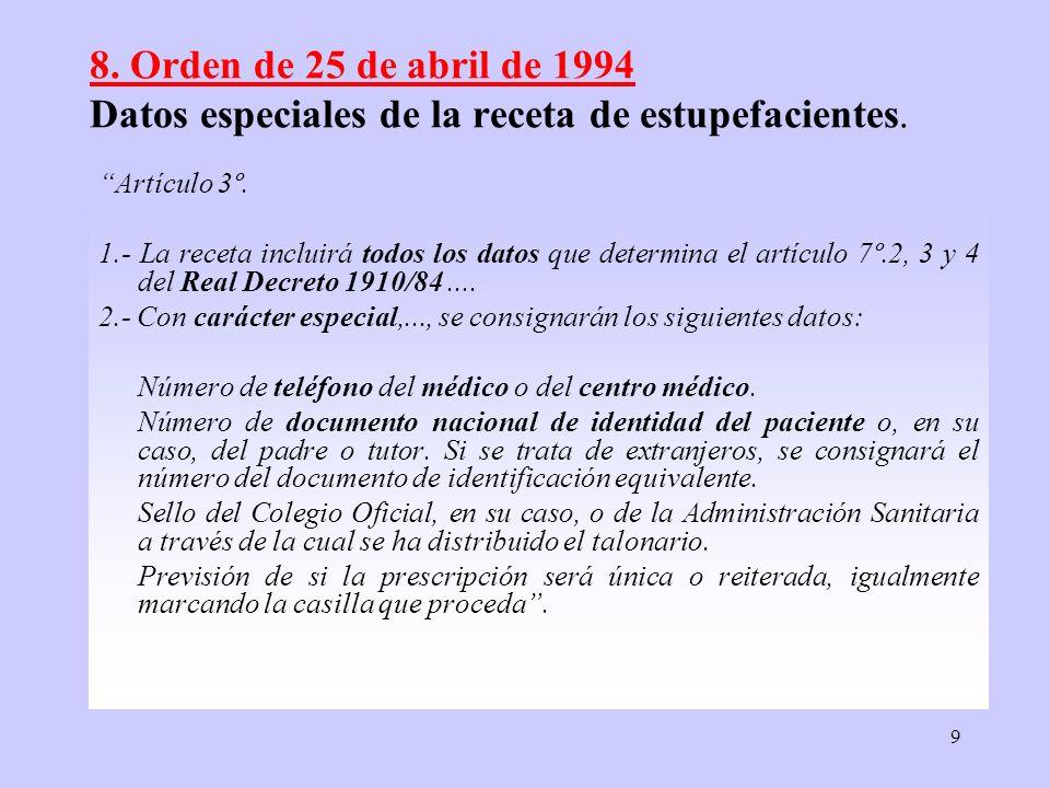 9 8. Orden de 25 de abril de 1994 Datos especiales de la receta de estupefacientes. Artículo 3º. 1.- La receta incluirá todos los datos que determina