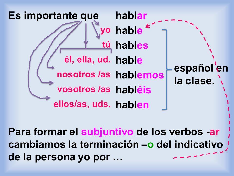 El presente del subjuntivo Mosaicos, pp. 337 y 338 El subjuntivo se forma de manera similar a los comandos formales. Cuando digo: - Estudien para los