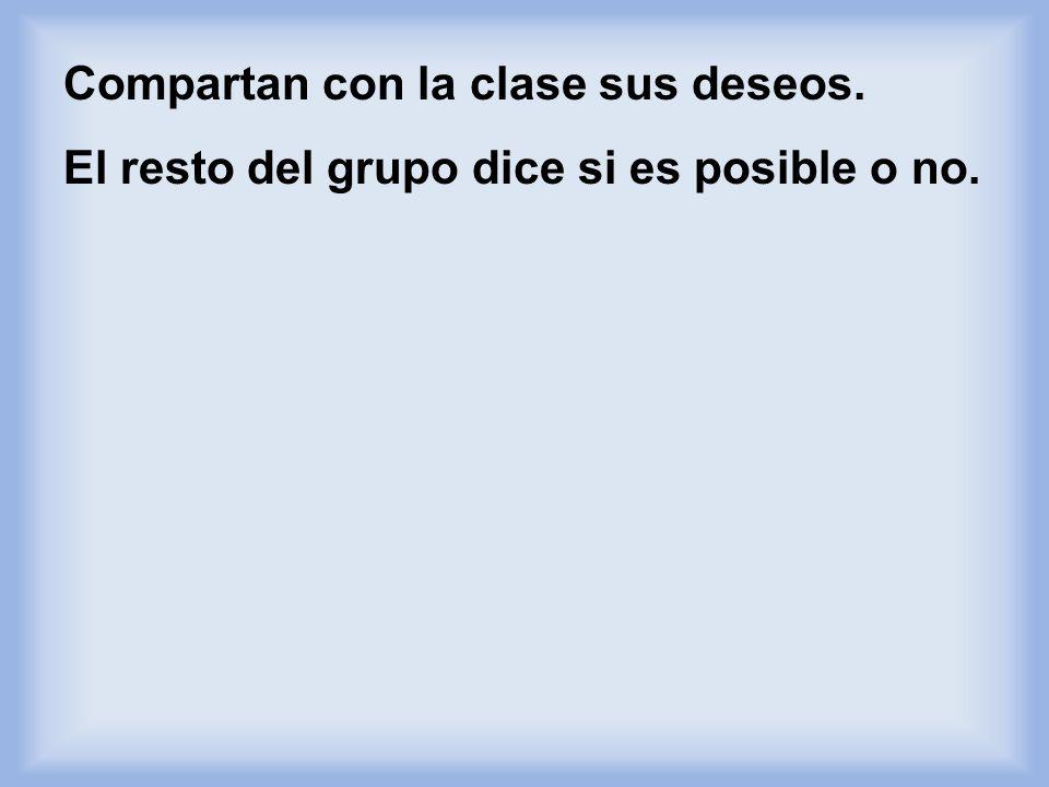 En parejas, escriban 3 cosas que esperan de la clase de español. Ejemplo: Queremos que la profesora nos invite a una fiesta en Acapulco, México despué