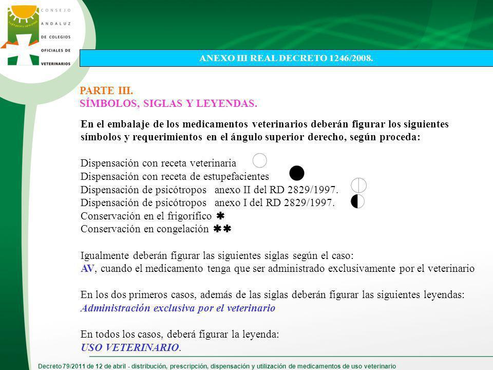 Decreto 79/2011 de 12 de abril - distribución, prescripción, dispensación y utilización de medicamentos de uso veterinario PARTE III. SÍMBOLOS, SIGLAS
