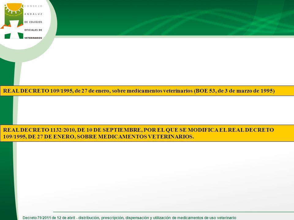 Decreto 79/2011 de 12 de abril - distribución, prescripción, dispensación y utilización de medicamentos de uso veterinario REAL DECRETO 109/1995, de 2