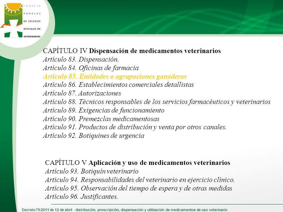 Decreto 79/2011 de 12 de abril - distribución, prescripción, dispensación y utilización de medicamentos de uso veterinario CAPÍTULO IV Dispensación de