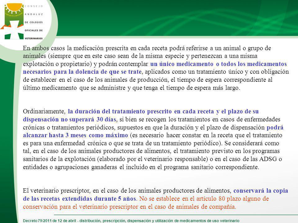 Decreto 79/2011 de 12 de abril - distribución, prescripción, dispensación y utilización de medicamentos de uso veterinario En ambos casos la medicació