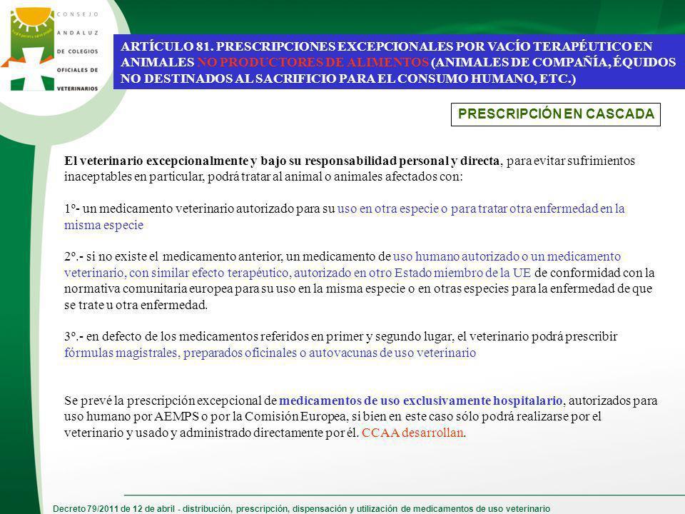 Decreto 79/2011 de 12 de abril - distribución, prescripción, dispensación y utilización de medicamentos de uso veterinario ARTÍCULO 81. PRESCRIPCIONES